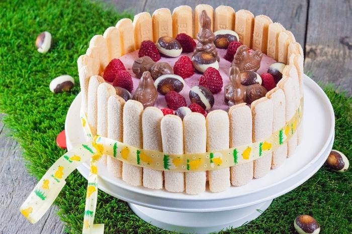 recette facile de charlotte de pâque aux framboises, gâteau panier paques au yaourt et à la framboise