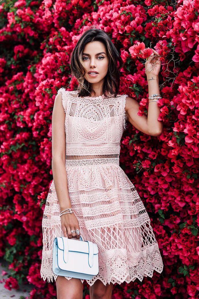 Chouette idée quelle robe dentelle rose pale choisir, robe bohème chic dentelle pour demoiselle d'honneur
