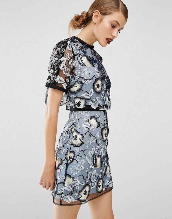 Inspiration robe boheme élégante courte, robe bohème chic en dentelle en deux pièces, belle robe fleurie bleu pale avec dentelle noire crochet fleurs