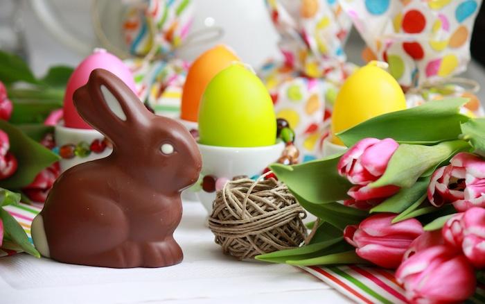 Idée photo de lapin chocolat de paques, joyeuses paques avec tulipes et oeufs colorés, images salut paques