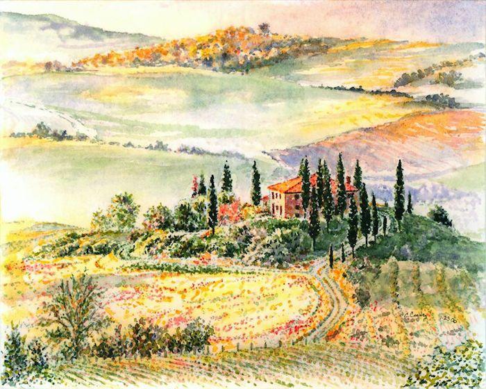 Fantastique capabilité de dessiner, papier et crayon dessin facile a faire et beau, dessin de paysage Toscane