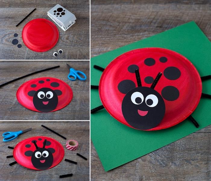 coccinelle en assiette de papier rouge décorée de pois noirs et une tête de cercle papier aux yeux noir et blanc, tuto activité printemps étape par étape