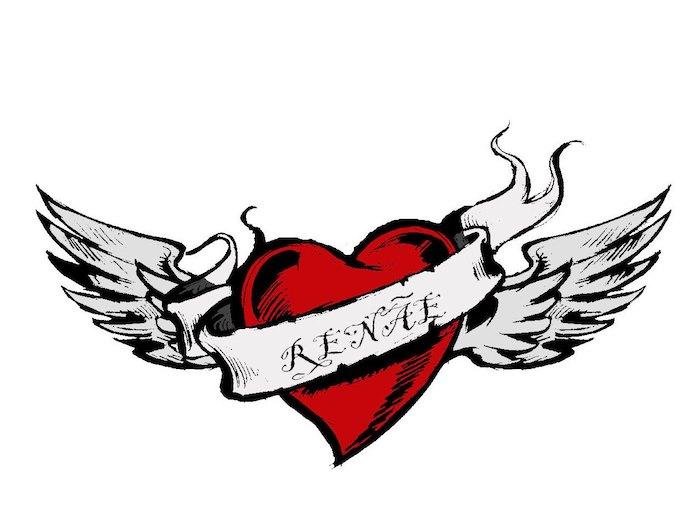 coeur rouge aux ailes et un prénom d amoureux écrit sur une bande qui passe au devant, dessiner un coeur original