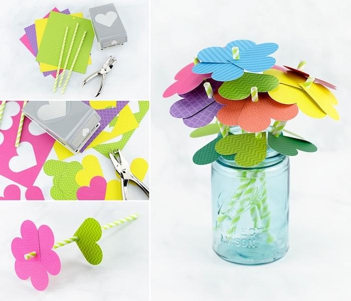 idée d activité manuelle facile, fleurs en coeurs de papier avec tige de paille en papier, activité manuelle 2 ans