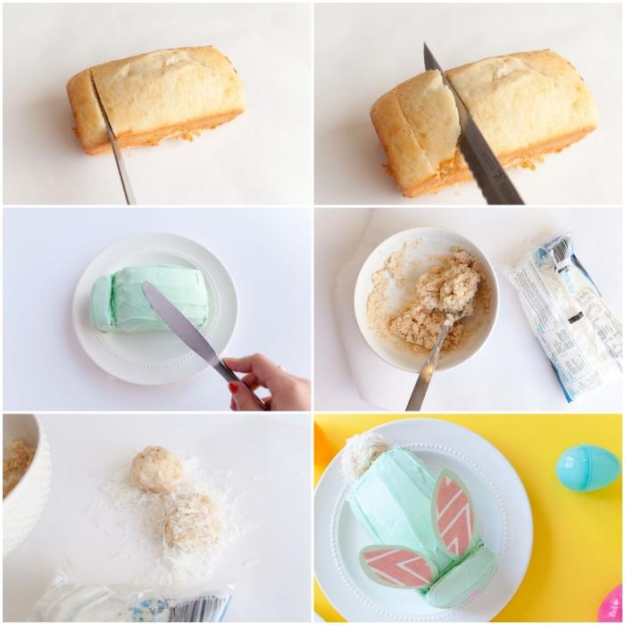 tuto facile pour décorer un gâteau de pâques en forme de lapin à partir d'une base de génoise à la vanillé, recouvert de glaçage vert pastel
