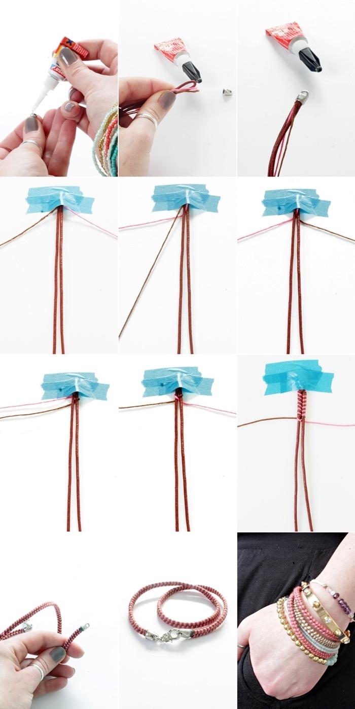étapes à suivre pour faire un noeud macramé, bijoux faciles avec la technique tressage en corde macramé rouge