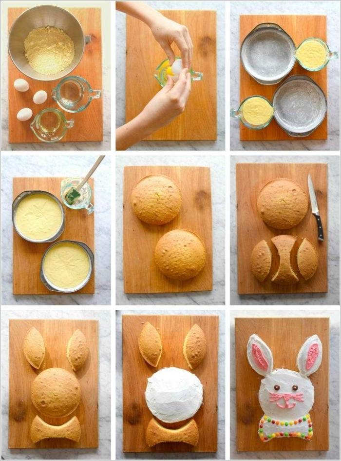 comment faire un gâteau de pâques en forme de lapin, gâteau lapin de pâques composé de plusieurs formes découpées dans deux génoises