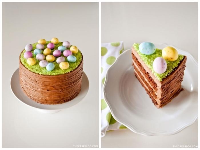 gâteau panier paques original au glaçage au chocolat et à la guimauve saupoudré de sucre vert et décoré d'œufs en chocolat
