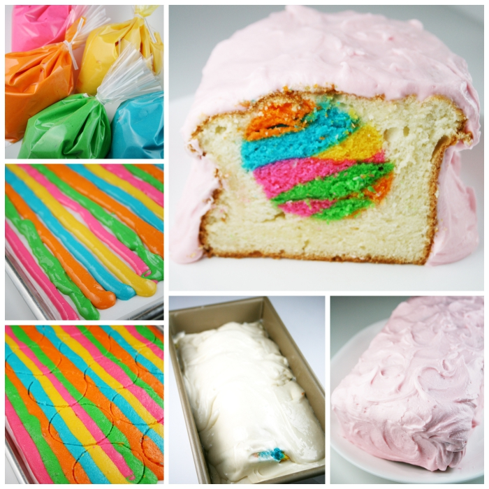 comment faire un gâteau surprise facile avec coeur d'oeuf de pâques aux couleurs de l'arc-en-ciel