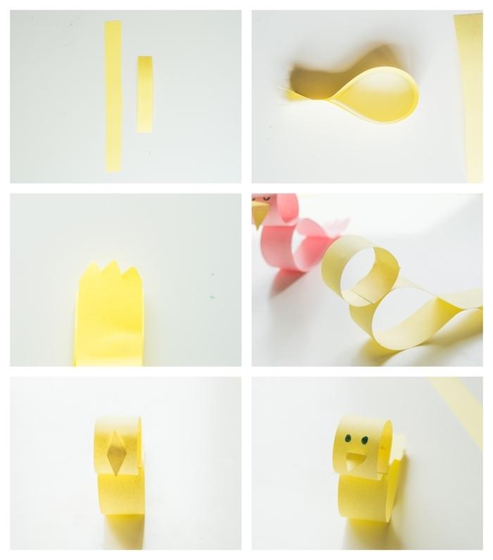 poussin de papier jaune et rose avec des yeux points dessinés au stylo et bec de papier, activités manuelles maternelle
