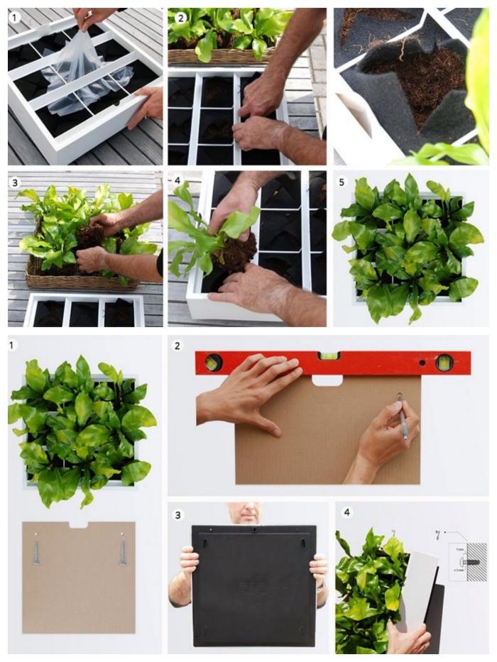 un mini-tableau vegetal compartiménté sur mesure avec des poches de feutre pour y placer des plantes