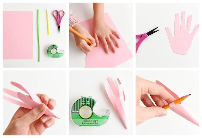 fleur de papier fabriqué dans papier rose, idée de bricolage printemps simple avec papier realisation etape par etape