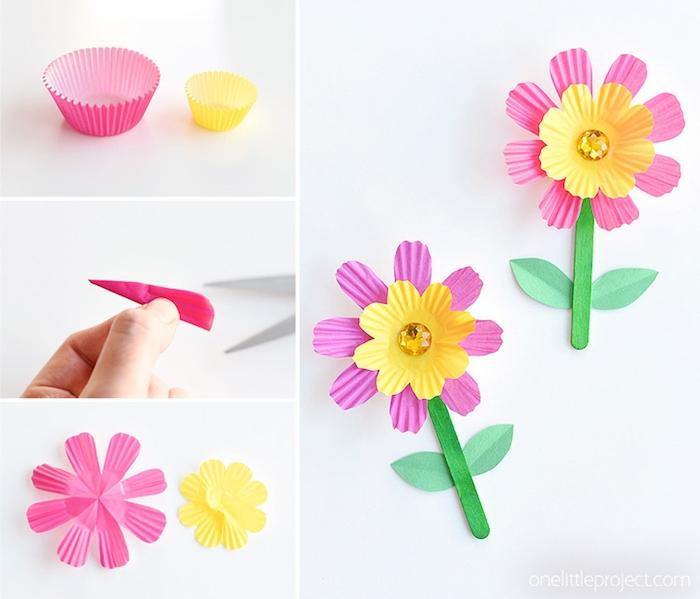 tuto fleur en papier fabriquée à partir une caissette à muffins rose et jaune avec strass au centre, activité pour tout petit