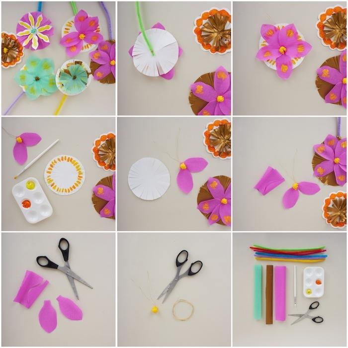 comment faire une fleur en papier à tiges de cire pipe et pétales en papier de soie et papier crepon, activité manuelle printemps