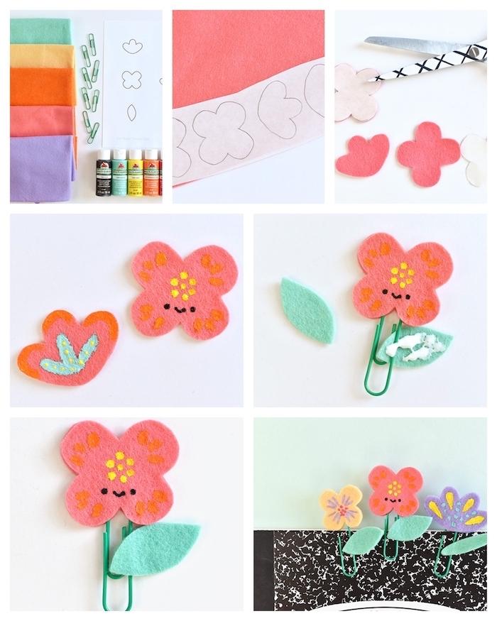diy marque page en feutrine et trombone, activité manuelle primaire pour enfants, tuto marque page fleur de printemps