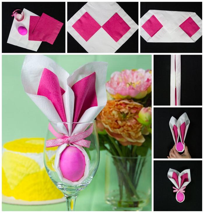 idée de pliage serviette rapide autour d'un oeuf réalisé avec deux serviettes en papier de couleur différente, pliage de pâques en forme de lapin
