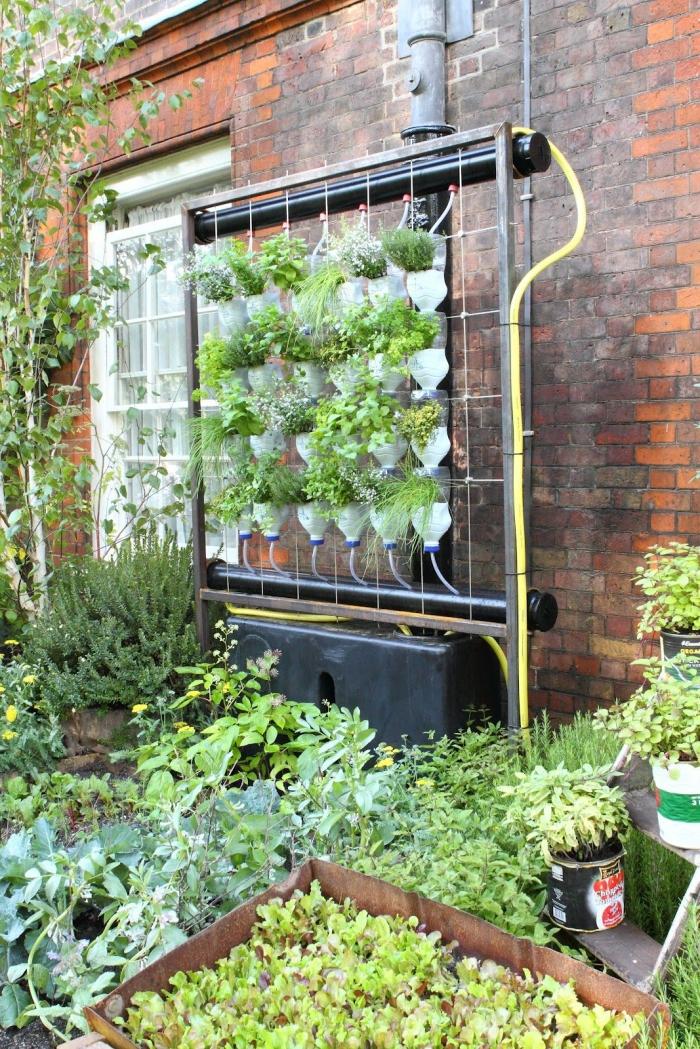 créer un jardin vertical avec des bouteilles en plastique recyclées suspendues à l'envers en colonne et un système d'arrosage, système de culture hydroponique