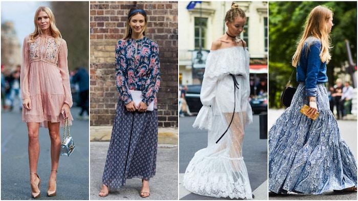 Tenue femme robe blanche dentelle, robe champetre moderne, quatre idées de tenue style bohème