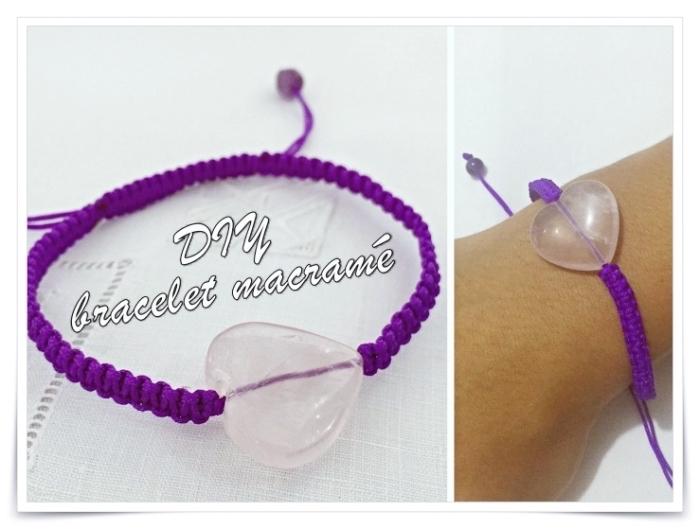 créer un bracelet tibetain facile, modèle de bijou diy réalisé en corde laine violette avec ornement coeur persé