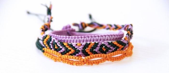 modèle de bracelet diy en corde rose pastel, comment créer des accessoires en corde, bracelet en noeuds macramé