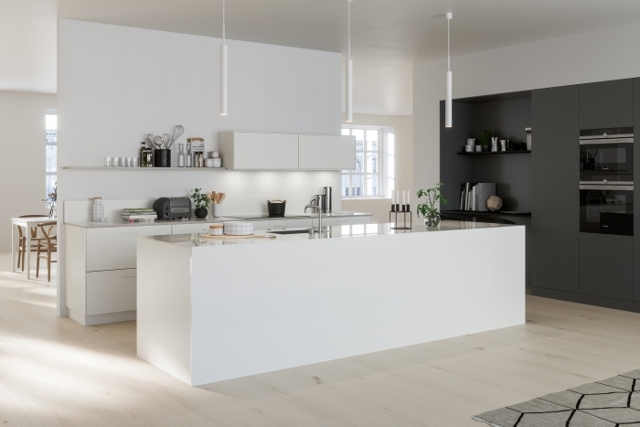 idée quelle couleur avec le gris anthracite, modèle de cuisine contemporaine ouverte aux murs blancs avec mur gris foncé