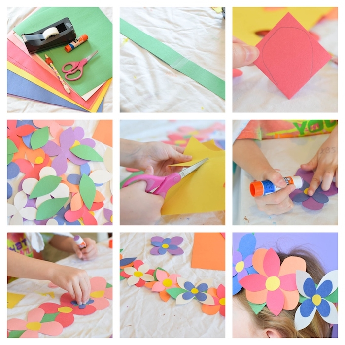 comment faire une couronne de fleurs de papier colorée en bandes et pétales de papier coloré, activités manuelles maternelle