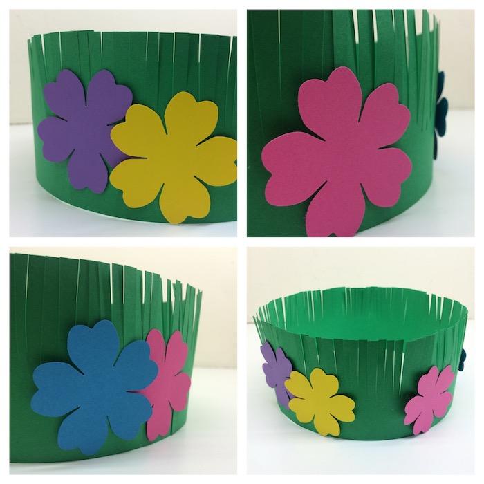 comment fabriquer une couronne de fleurs en bande de papier à franges avec une fleur coloré décoratif collée dessus