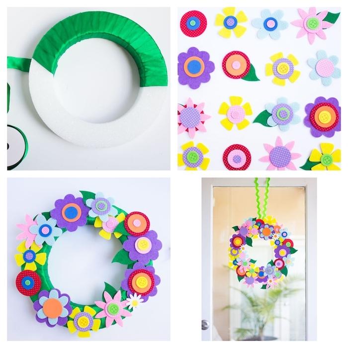couronne de fleurs en couronne mousse enveloppée de ruban vert avec deco de fleurs en feutrine et boutons colorés suspendue