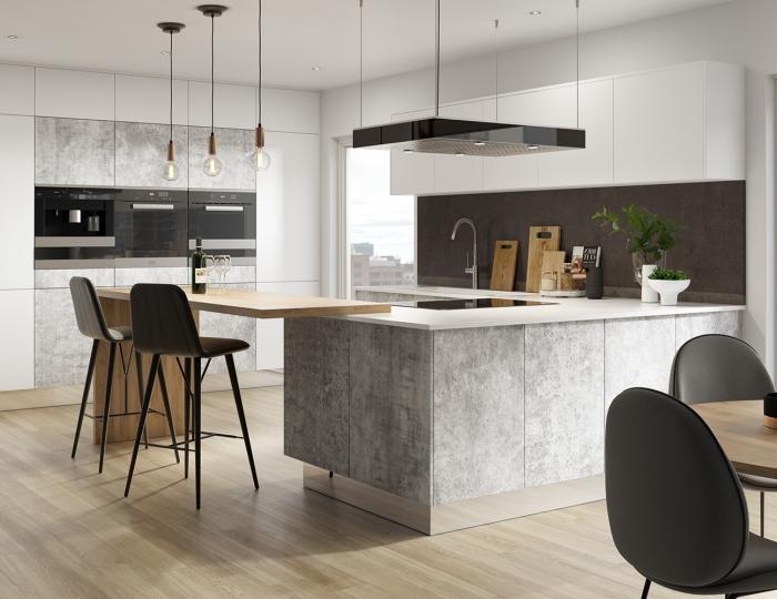 idée quelle couleur avec le gris dans une cuisine contemporaine, déco cuisine avec îlot avec table intégrée en bois