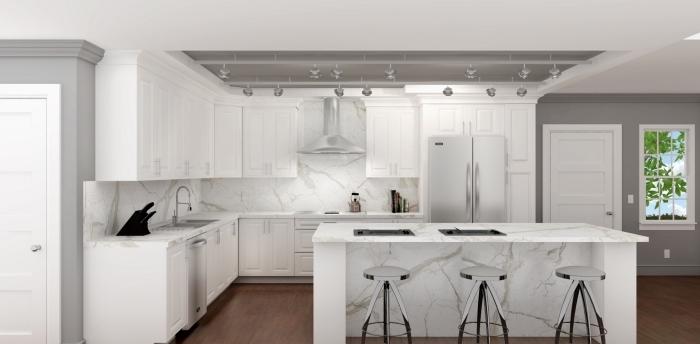 design intérieur moderne dans une cuisine blanche avec accents gris, idée crédence à design marbre blanc et gris