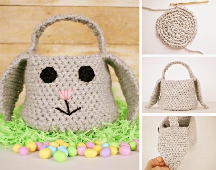 décoration de paques à fabriquer, faire un sac panier en crochet, panier diy en forme de lapin avec yeux et lèvres brodés