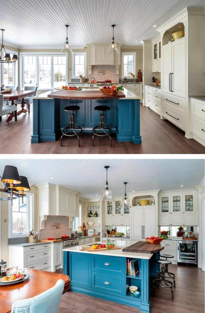 jolie cuisine bistrot, ilot bleu, lampes suspendues, sol en bois, table de repas vintage