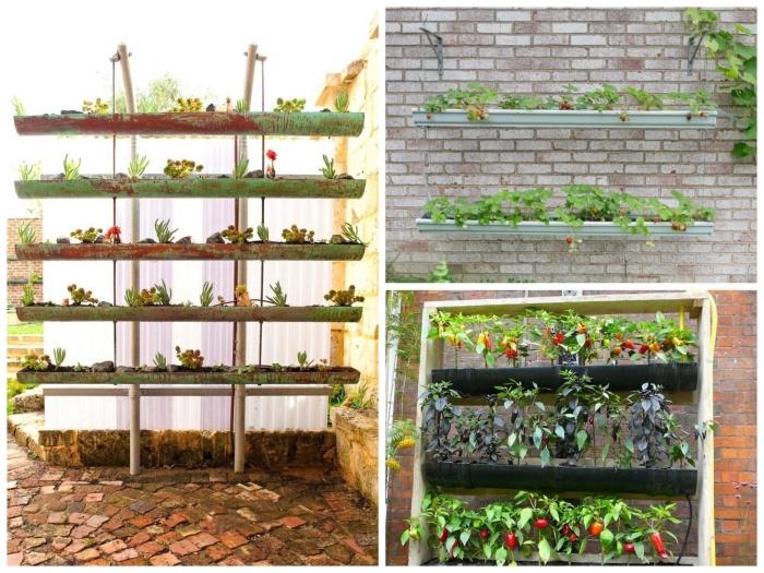 une plantation de fraisiers dans des gouttières suspendues ou fixées directement au mur, comment planter fraisier dans gouttière recyclée