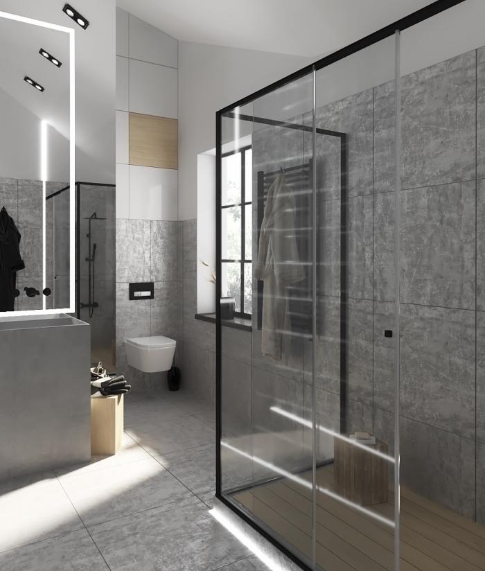décoration salle de bain contemporaine aux murs à imitation béton de style industriel, effet visuel agrandissement espace avec miroir