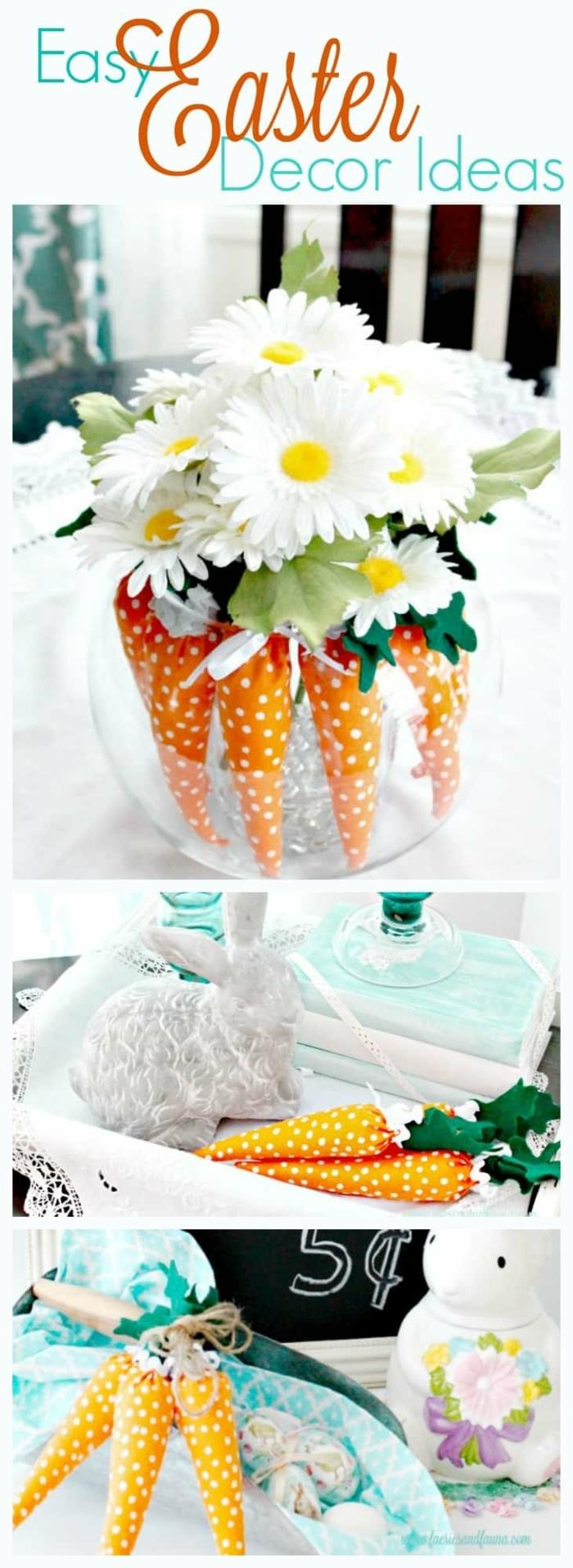 decoration de paques fait maison, carottes en textile et paquerettes blanches, decoration de table pour paques à faire soi-meme