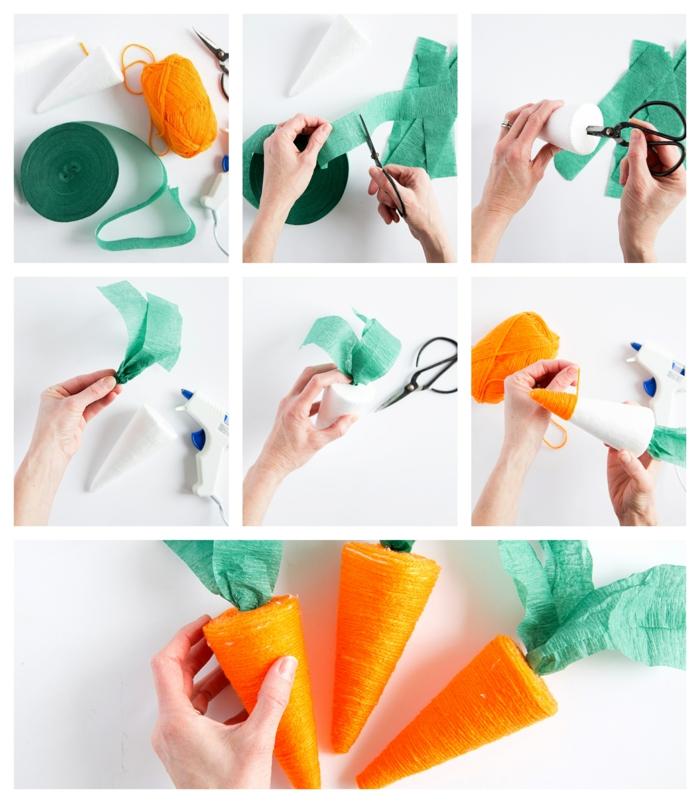 carottes en cônes en mousse et papier vert, fabriquer soi-même des décorations de paques