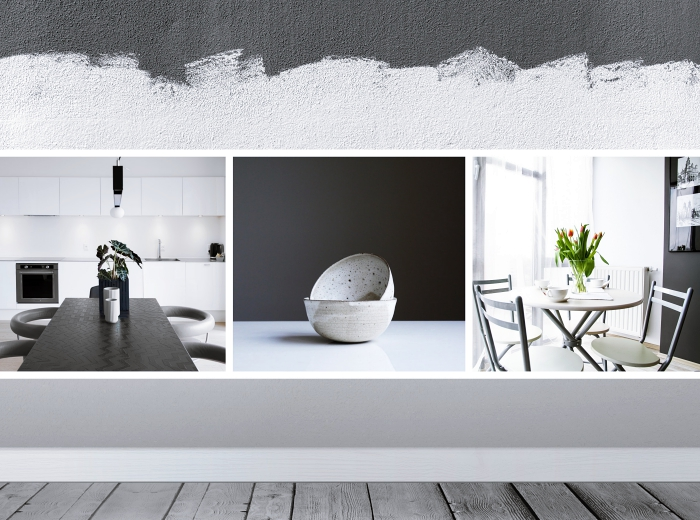 idée quelle couleur associer avec le gris dans une cuisine blanche moderne, accessoires de nuances de gris
