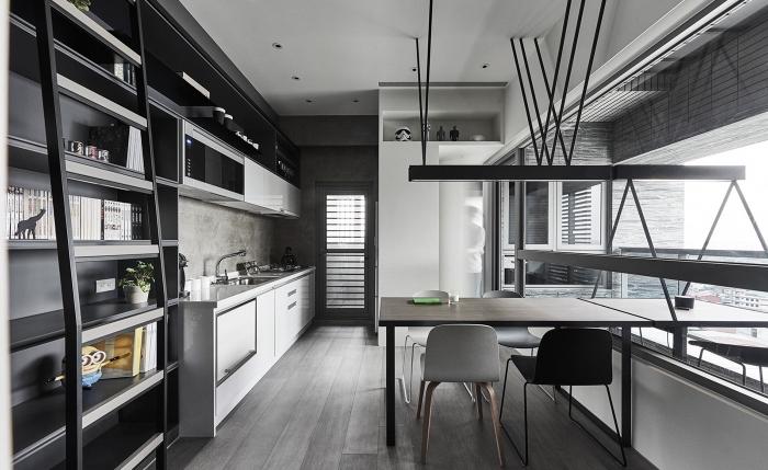 comment aménager une petite cuisine en longueur avec table à manger, idée quelle couleur pour les murs d'une cuisine