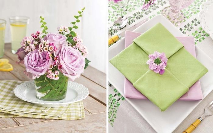technique de pliage de serviette origami paques, serviette verte pliée en carré japonais et posée sur une assiette rose pastel, déco de table printanière