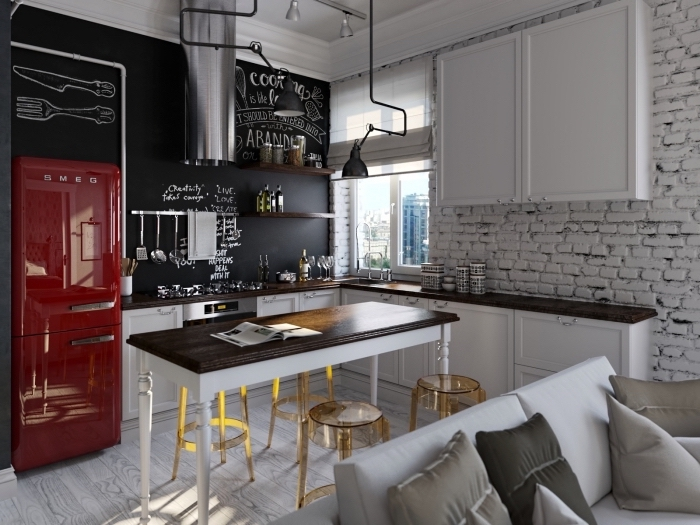 comment aménager une petite cuisine en l, exemple peinture tendance à texture ardoise dans une cuisine blanc et bois foncé