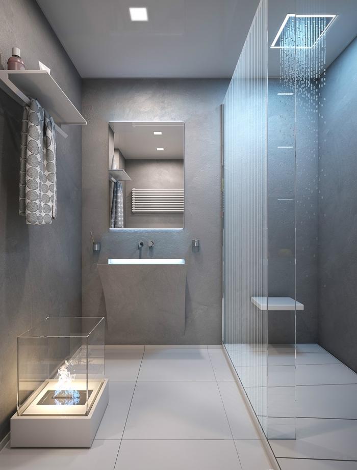 modèle cabine de douche aux murs avec peinture à effet béton et douche effet pluie, exemple de salle de bain grise