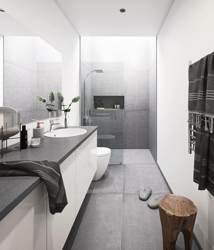 comment aménager une petite salle de bain, idée quelle couleur associer avec le gris, pinterest salle de bain moderne