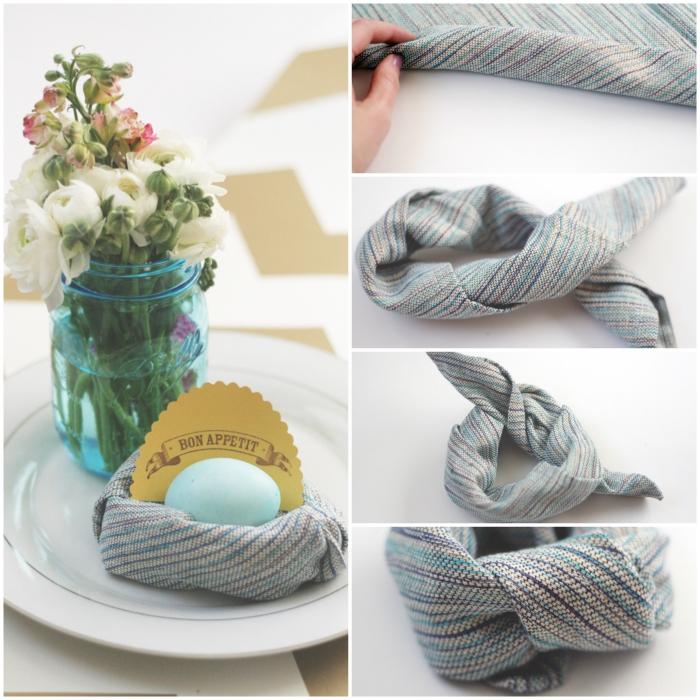 déco de table de pâques simple et élégante, pliage serviette rapide en nid d'oiseau