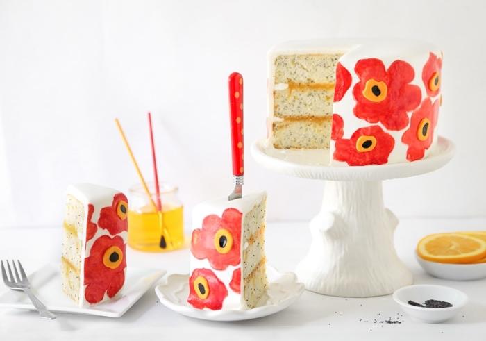 technique de peinture sur gâteau avec des colorants alimentaires gel, décoration de gateau d'anniversaire facile