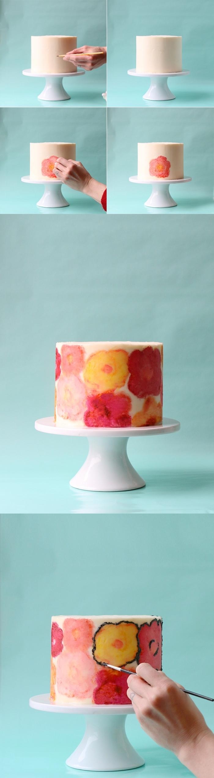 gateau anniversaire dessin coquelicot réalisé avec des colorants alimentaires en gel sur une base de glaçage lisse de crème beurre à l'américaine