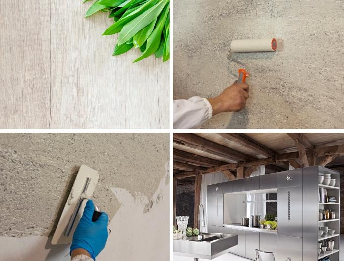 exemple revêtement pour mur intérieur, idée peinture effet bois pour meubles, modèle de cuisine bois et inox