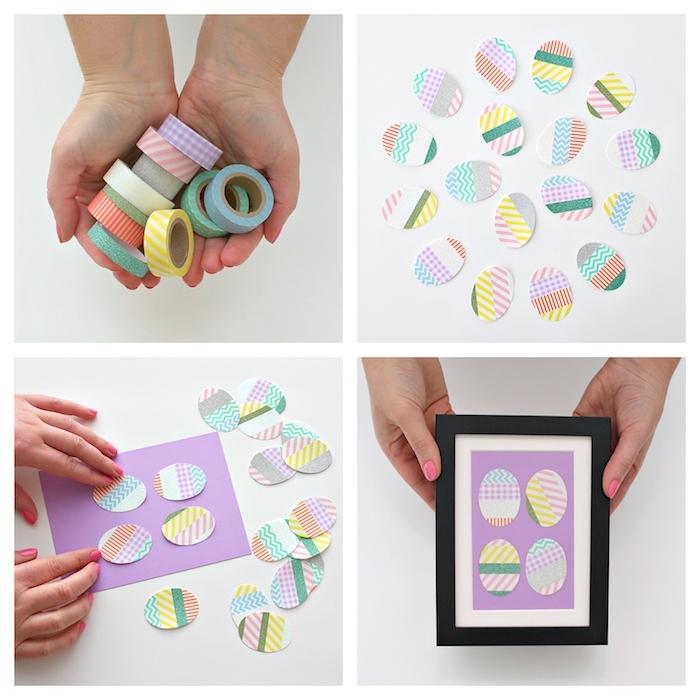 exemple de décoration de paques à fabriquer, oeufs de paques en washi tape sur papier violet à mettre dans un cadre