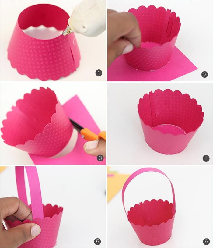 tutoriel facile pour pâques, activité manuelle de paques, bricolage de paques avec moules à muffins en papier rose