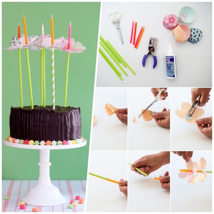décoration gâteau d'anniversaire à faire soi-même, des porte-bougies en forme de fleurs réalisés à partir des caissettes à cupcakes