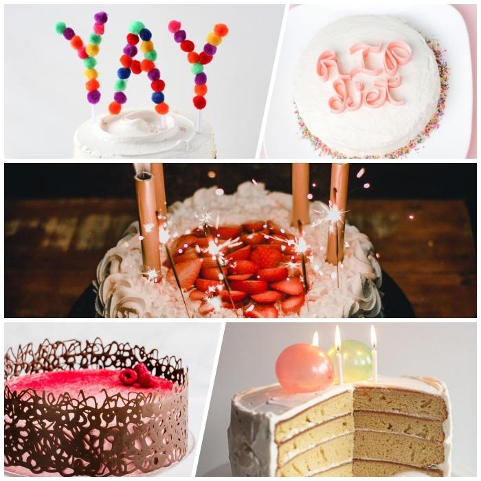 mille et une façons de réaliser une décoration gâteau d'anniversaire originale, petites décorations de gâteaux comestibles ou non comestibles